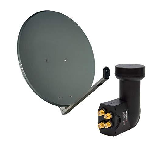 Gibertini 75-80 cm ALU DIGITAL Anthrazit Sat Anlage Schüssel Spiegel Antenne + PremiumX Quad LNB HDTV 4K für 4 Teilnehmer