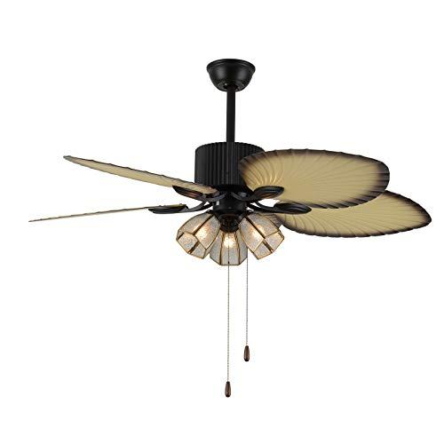 OUKANING Luces de ventilador de techo de 52 pulgadas, 3 velocidades, accesorios de luz de alta calidad, 5 paletas, ventiladores tropicales de techo, decoración para hogar/restaurante