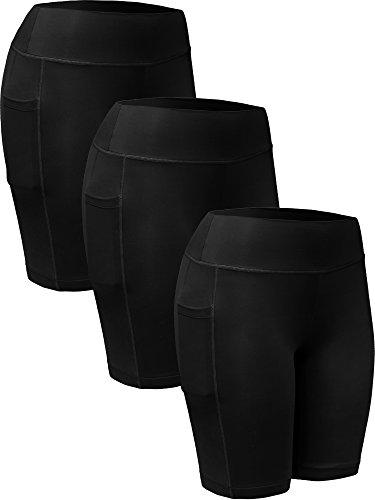 Neleus Women's 3 Pack Tummy Control Workout Compression Shorts with Pocket,9005,Black,US S