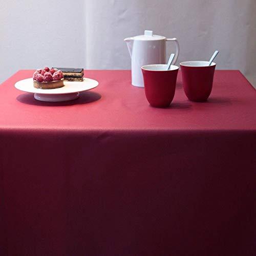 Fleur de soleil ~ Nappe Unis Rouge Coton Enduit Non ourlée 160x300
