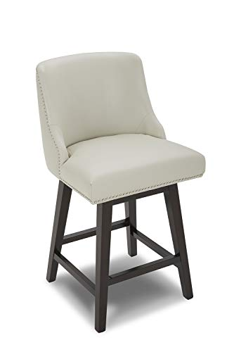 """CHITA Counter Height Swivel Barstool, Upholstered Leather Stool, 26"""" H Seat Height, Creamy Gray"""