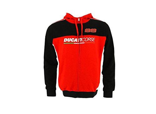 Ducati Corse Jorge Lorenzo Herren-Kapuzenpullover, offizielles Desmo GP MotoGP Bike Gr. Mens (S) Chest 34-36 inches, rot