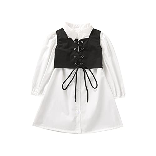 2Pcs Kids Girls Outfit,Solid Color Lapel Long Sleeves Shirt Dress+Tied Cross Straps Waistcoat Set (White Black, 3-4T)