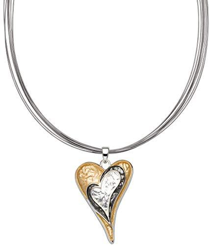 Perlkönig Kette Halskette | Damen Frauen | Silber Gold Schwarz Farben | Gebürstet | Herz | Tricolor | Nickelabgabefrei