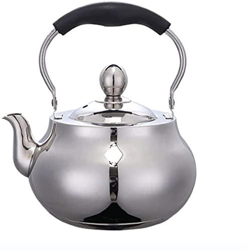 1 5L/20 L2 5L Utensilios de cocina Hervidor de agua redondo 304 acero inoxidable horno electromagnético tetera con filtro de té de malla (2 5L) sin BPA tetera de té