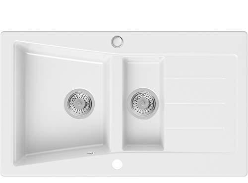 Lavello in Granito Bianca, 88 x 52 cm, Lavandino Cucina 1,5 vasche + Sifone Classico, Lavabo Cucina da Incasso de Primagran