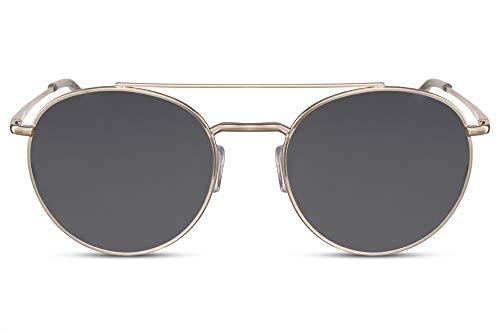 Cheapass Gafas de Sol Redondas Doradas Metálicas Puente Doble con Cristales Oscuros Protección UV400 Mujer