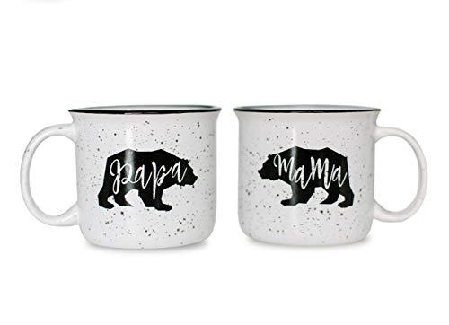 Cam n Honey Farmhouse Mama Bear & Papa Bear Funny Campfire Couples Coffee Mug Set-14oz Ceramic Mugs-Perfect Gift for Parents