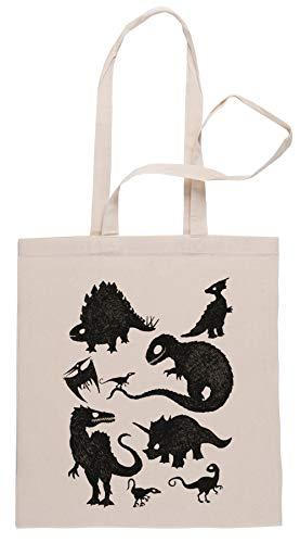 Rundi Silhouetted Dinosaurier Einkaufstasche Shopping Bag Beige