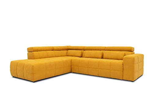 DOMO Collection Brandon Ecksofa, Sofa mit Rückenfunktion in L-Form, Polsterecke Eckgarnitur, 278 x 228 x 80 cm, Polstergarnitur in gelb
