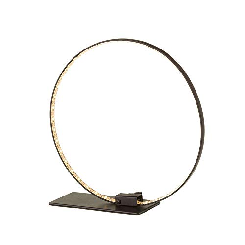 Lámpara led de mesa de metal con anillos contemporánea negra de 24x8x24 cm
