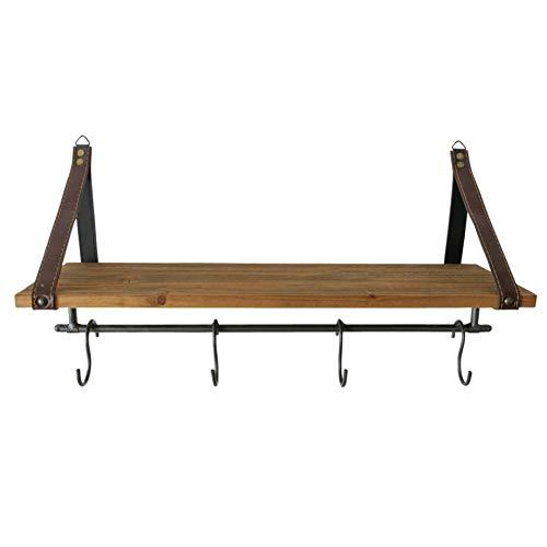 CasaJame Perchero de madera y metal, 4 ganchos, estilo vintage, con tabla para estante, 17 x 55 x 30 cm