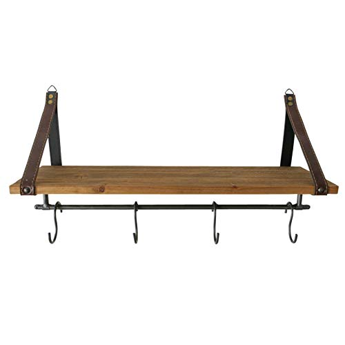 CasaJame Garderobe Holz & Metall, 4 Haken, vintage Garderobenhaken mit Brett zur Ablage, Garderobenleiste 17x55x30cm