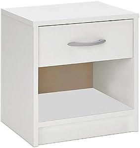 Table de chevet - table de nuit 35 x 40 x 50 cm meuble chambre à coucher - Blanc perle