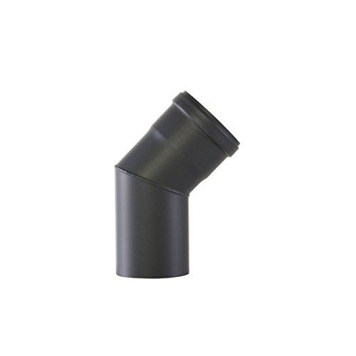 Kamino Flam Bogenknie schwarz, Winkel von 45°, Winkelrohr spezielll für Pelletöfen, Abgasrohr aus Stahl mit hitzebeständiger Senotherm® Beschichtung, geprüft nach Norm EN 1856-2, Maße: Ø ca. 80 mm