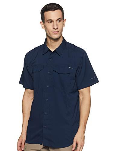 Columbia Men's Silver Ridge Lite Short Sleeve Shirt, UV Sun Protection, Moisture Wicking Fabric, Collegiate Navy, X-Large