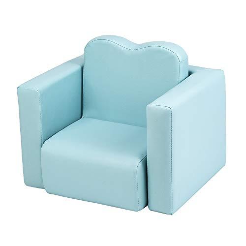 ONEP Juego de mesa y silla infantil 2 en 1 multifuncional para niños, esponja de alta resistencia, marco de madera maciza de PVC, sillón de dibujos animados (azul cielo)