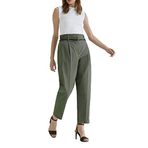 Nueve Pantalones de Hongo elástico de Cintura Alta Moda Estilo Europeo y Americano Primavera y Verano Pantalones Casuales Salvajes