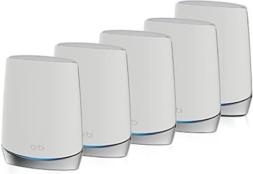 NETGEAR Orbi Mesh WiFi 6 RBK755, Sistema tribanda Compuesto por 1 Router y 4 Extensores satélite, Cobertura de hasta 875 m² y más de 40 Dispositivos, AX4200 (hasta 4.2 Gbps)