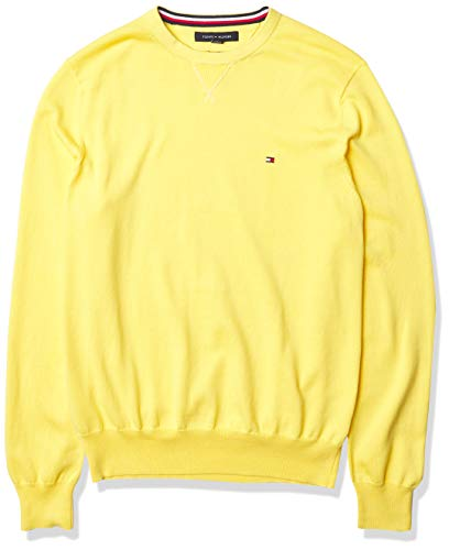 Tommy Hilfiger Men's Solid Crewneck Sweater, Aspen Gold, XXL