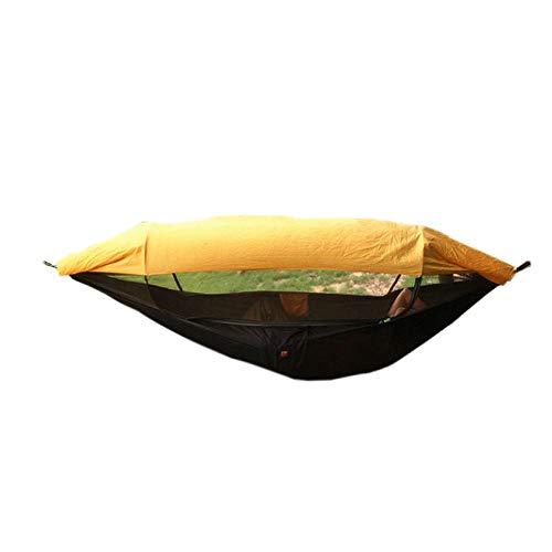 Multifonction Célibataire Hamac 2 Places avec Sac De Rangement + Sangle,300kg Capacité de Charge (250x120cm) Orange Kit Camping pour Tente d'arbre, À L'Extérieur