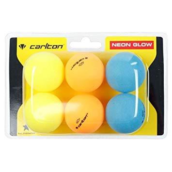 Pelotas de tenis de mesa de alta visibilidad de alta visibilidad, 6 pelotas de ping pong profesionales de alta giro, resistentes al viento, neón Duo Glow