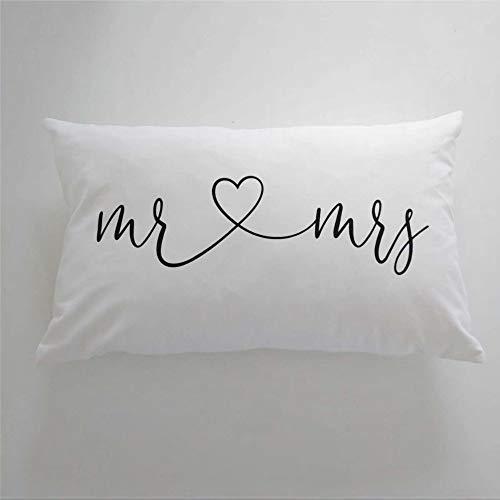 Almohada lumbar con cita de Mr And Mrs, regalo único de boda, decoración de dormitorio, dormitorio principal, cojín lumbar con cita romántica, funda de almohada de 30,5 x 50,8 cm