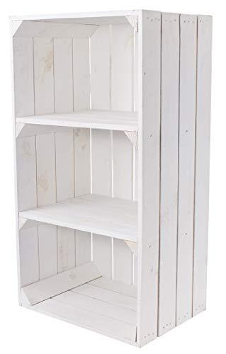 Kontorei® Weiße Holzkiste mit 2 Mittelbrettern 68cm x 40cm x 31cm 1er Set Apfelkiste Obstkiste Weinkiste Holzregal Vintage Bücherregal Abstelltisch Garderobe