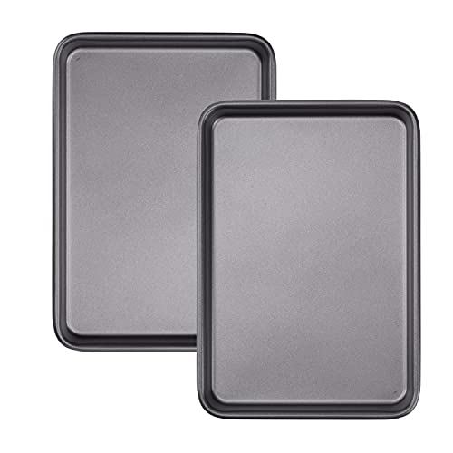2Pcs Small Baking Sheet 10x7.1 Inch Mini Cookie Tray Toaster Oven Pan Nonstick Thicken Heavy Carbon Steel No Warp Non Toxic Magnetic Bakeware By HYTK