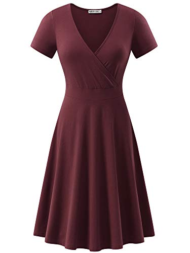 MSBASIC Women's Deep V Neck Short Sleeve Unique Cross Wrap Casual Flared Midi Dress Burgandy (Apparel)