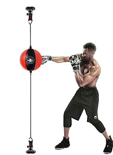 Punching Ball Bola de Velocidad de Doble Extremo Sacos de Boxeo para Adultos/Principiantes, Colgando Bolas de Velocidad de Boxeo con Ventosa y Bomba, Entrenamiento Gimnasio (Color : Red+Black)