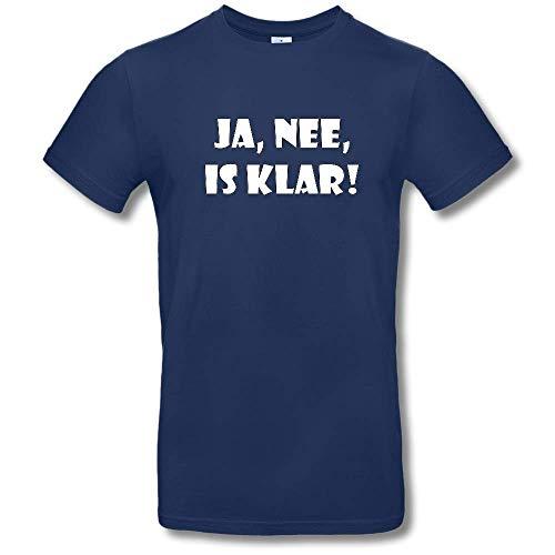 HAPPY FREAKS Spruch-T-Shirt 'Ja, nee, is klar!' - Herren/Unisex Rundhals-Funshirt M Navy