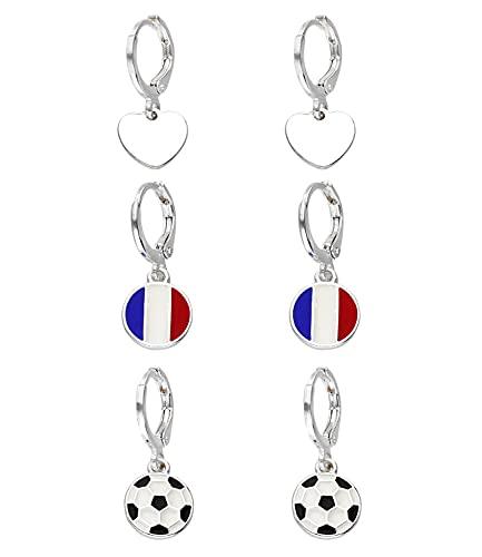 SIX France 679-874 - Juego de pendientes, diseño de corazón y balón de fútbol