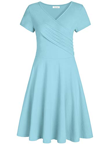 Pintage Women's Surplice V Neck Knee Length Wrap Dress M Sky...