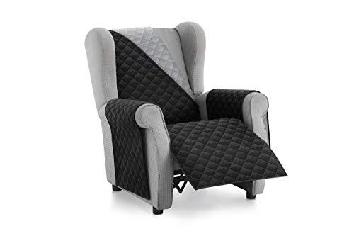 Textil-home Sesselschoner Relax MALU, 1 Sitzer - Reversibel gepolsterter Sofaschutz. Farbe Schwarz
