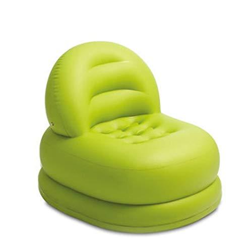 Ufblasbares Sofa Aufblasbare Beflockung Freizeit Sofa Tragbare aufblasbare Sofa Tasche Air Cushion Aufblasbares Sofa für zu Hause (Farbe : Grün, Size : 84x99x76cm)