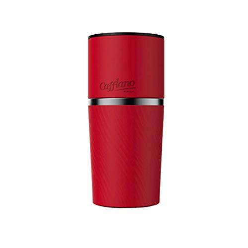 Cafflano Portable tout-en-un Moulin à café machine à café Brewer Gobelet à la main Ensemble de Drip pour camping + Brief English Guide 89.4 mm x 193.5mm / 400ml Red