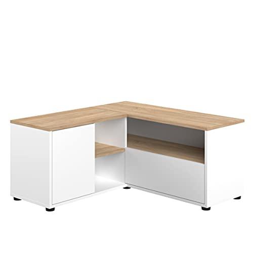 TemaHome Mueble de TV ángulo 90, 90 x 90 x 45 cm, Blanco y Roble, 90x90x45 cm