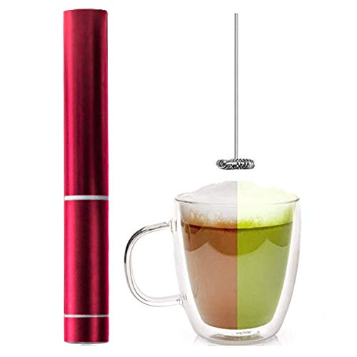 InstaCuppa Travel Milk Frother Handheld Battery Operated Electric Whisker, Foam Maker, Coffee Beater with Stainless Steel Travel Casing (Frother, Red)