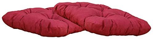 Ambientehome 2er Set Sitzkissen Auflage Sitzpolster 50x50x8 cm rot