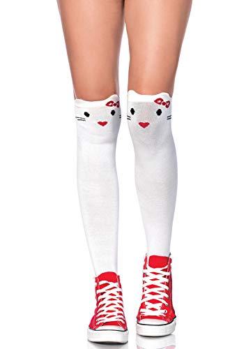 Leg Avenue Damen Goodbye Kitty Socken, weiß, One Size