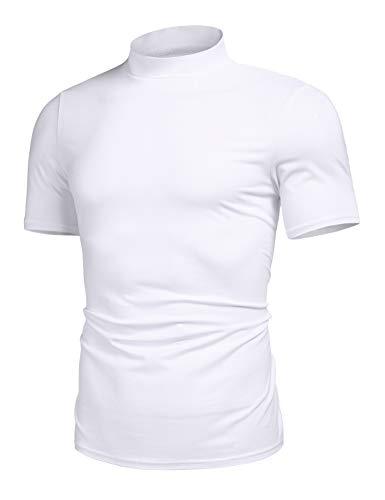 Men's Basic Turtleneck Pullover Tops Melange Colored Slim Fit Short Sleeve T Shirt White M