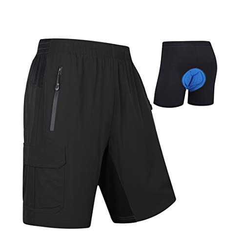 MOCOLY Mens Mountain Bike Shorts 3D Padded Lightweight Quick Dry MTB Cycling Shorts Riding Bicycle Shorts with Padding Black L