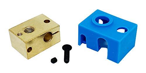 3Wthings 3D Drucker Kupfer-Messing Heizblock / Copper Brass Heatblock Hotend für E3D V6 PT100 mit Silikon Socke (Blau)