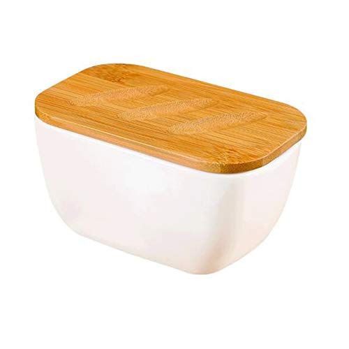 XIAOSAKU Butter Dishes Farmhouse Butter Dish for Countertop, Porcelain Butter Keeper Container with Seal Ring,White Butter Keeper Container, White Butter Dishes with Lid