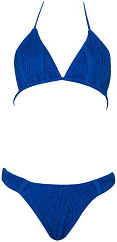 Sexy vrouwen split zwembroek, lage taille-V gevouwen bikini twee-delige set Pure kleur backless kant-up zwembroek, Maat: M, Kleur: Geel (Color : Blue, Size : M)
