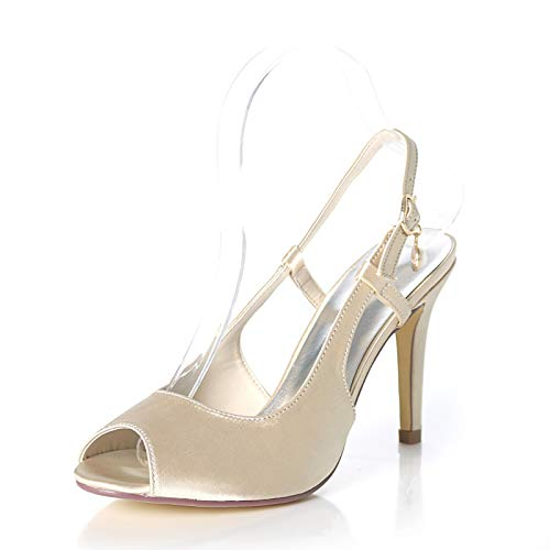 LGYKUMEG Zapatos de Boda adecuados para la Novia, Eslinga de tacón bajo...