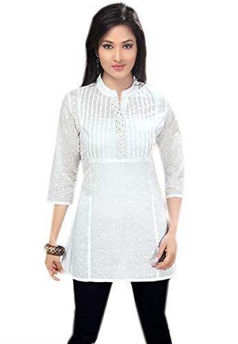 Jayayamala SWeißes Tunika-Kleid Blusenkleid aus Baumwolle mit 3/4-Ärmeln, weißes Besticktes Kleid mit plissierter Vorderseite (XXXL)