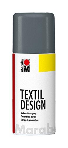 Marabu 17240006179 - Textil Design, Dekorationsspray auf Acrylbasis, schnell trocknend, wetterfest, lichtecht, bedingt waschbeständig, zum kreativen Gestalten auf Stoff, 150 ml Sprühdose, graphit