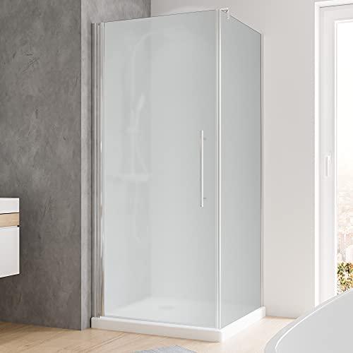 Schulte Duschkabine Glas-Dusche 90x90, 5mm Stärke Drehtür und Seitenwand chrom-optik Sicherheitsglas vollflächig satiniert